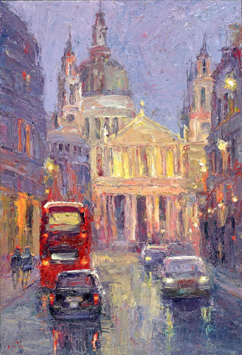 St Paul's Cathedral at Night II by lana okiro -  sized 13x19 inches. Available from Whitewall Galleries